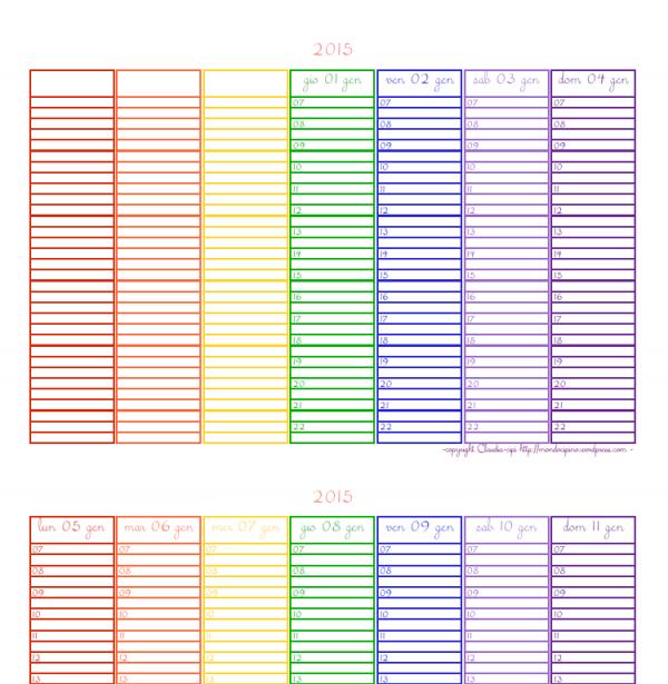 anteprima del planner settimanale 2015 versione arcobaleno con font corsivo